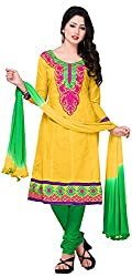 MANMAUJ Women's Cotton Unstitched Dress Material (Yellow)