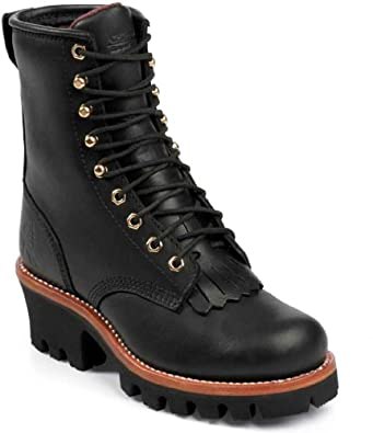 Chippewa L73045 Women's 8-in INS Ladies Logger Boot Black Oiled 6.5 W US