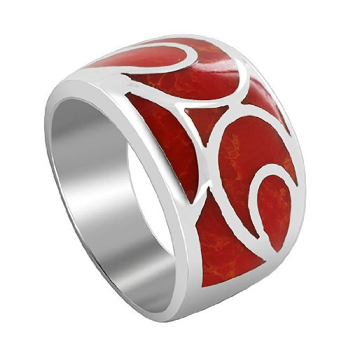 Sterling Silver Simulated Coral Swirl Design 6mm Band Ring