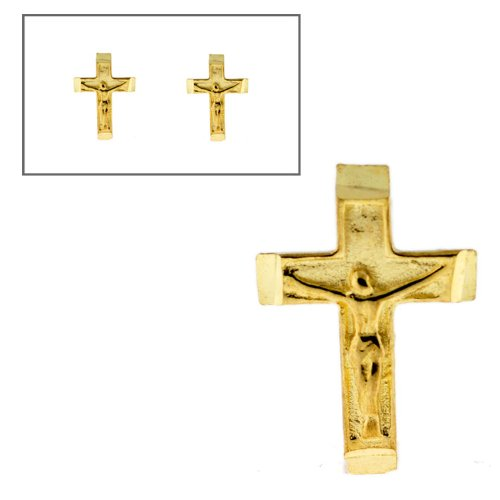 10KT Gold Small Crucifix Post Earrings