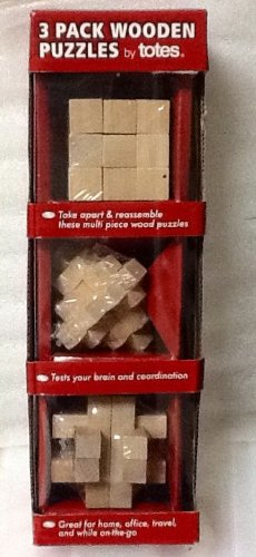 3 Pack Wooden Puzzles By Totes ~ Take Apart & Reassemble!