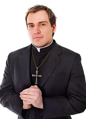 Black Shirt Front With Collar Vicar Priest Fancy Dress Costume Vicars & Tarts by Bristol Novelties (Priest Collar Costume)