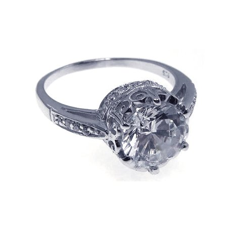 Sterling Silver Antique Round- Cut Cubic Zirconia Centered as well as Round Cut Side Stones Engagement Ring, Includes Gift Box and Special Pouch. (8.5)