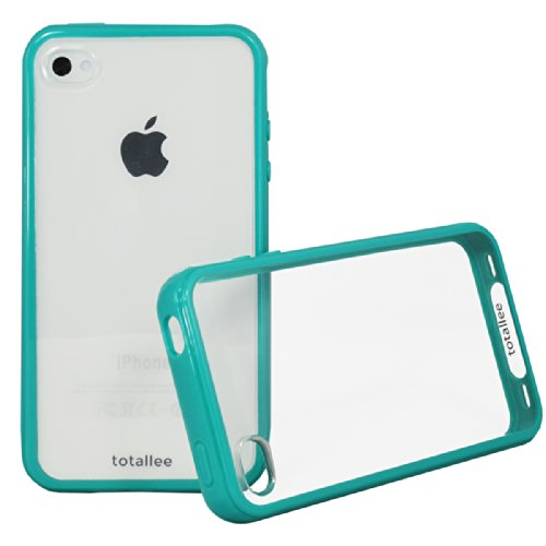 iPhone 4S Case, Totallee Clearback Hybrid iPhone 4 / 4S Cover Scratch Resistant Clear Hard Back with Bumper Shock Absorption (Teal) (Cool Case Iphone 4s compare prices)