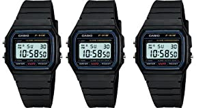 Casio #F91W-1 Men's Special Package Deal (3 Classic Chronograph Alarm Watches)