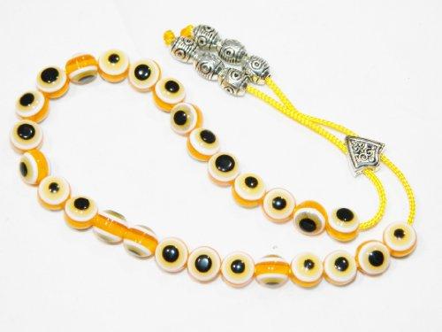 A2-0277 - Traditional Greek Komboloi Prayer Worry Beads - 27 Beads Lucky Evil Eye Beads & Tibetan Silver Tone Alloy Accessories - Handmade by Jeannieparnell