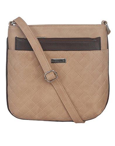 ESBEDA Beige Color Quilted Slingbag For Womens - B01KVFRZ0Q