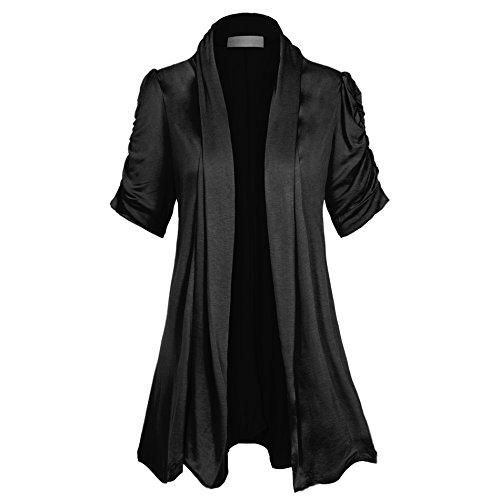 Women's Open Front Ruched Short Sleeve Shark Bite Hem Casual Plus Size Cardigan, XXX-Large, Midnight..