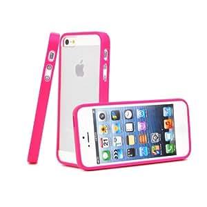 Sinbury - Hot Pink TPU Frame / Clear Hard Back Hybrid Case Cove Skin for Apple iPhone 5 / 5S
