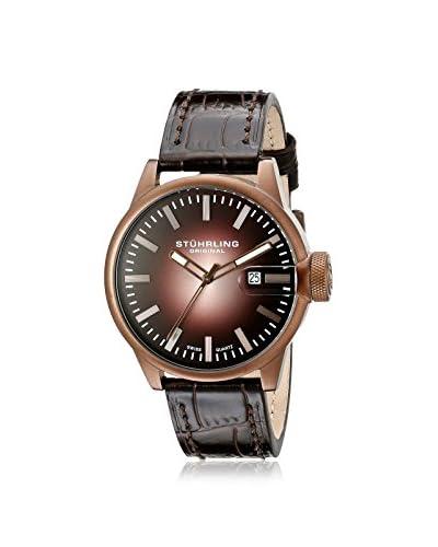 Stührling Original Men's 468.3345K14 Concorso Metron Antique Bronze/Dark Brown Leather Watch