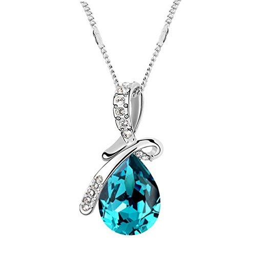 Drunk Wind Angel Teardrop Romantic Love Diamond Studed Pendant Necklace (Blue)