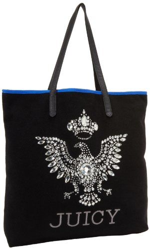 Juicy Couture Wool Black Blue Eagle Tote