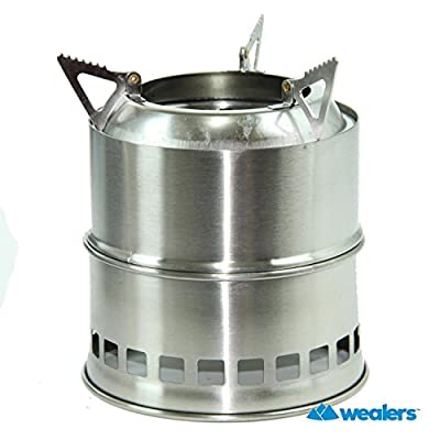 Wealers Stainless Steel Lightweight Wood Burning Camping Stove, Great for Outdoor Cooking Picnic Barbecue Camping and Survival