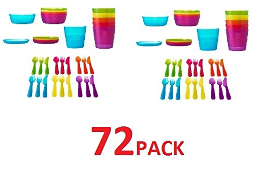 Ikea Kalas 72 Piece Kids Childrens Set Cups Bowls Plates