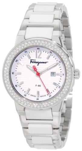 Ferragamo Women's F53SBQ9101 S981 F-80 White Ceramic Links Diamond Hour Markers Bezel Watch