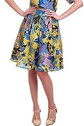Blue Floral Silk Skirt