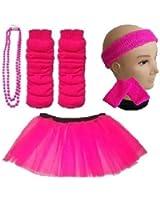 Child 8-12 Years - Neon Tutu, Headband, Wristbands, Legwarmers & Beads Necklace