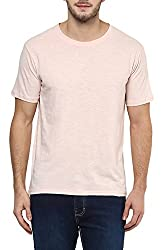 Peach Soft Feel Round Neck Half Sleeves Slim Fit Cotton T-Shirt for Men