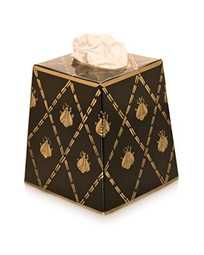 Jayes French Bee Tissue Box Cover, Black/Gold