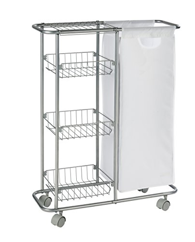 WENKO 12100100 Collecting trolley Slim - 3 tiers, detachable bag , capacity 7.4 gal, Powder-coated metal, 7.9 x 22.8 x 31.5 inch, Grey (Recycling Trolley compare prices)
