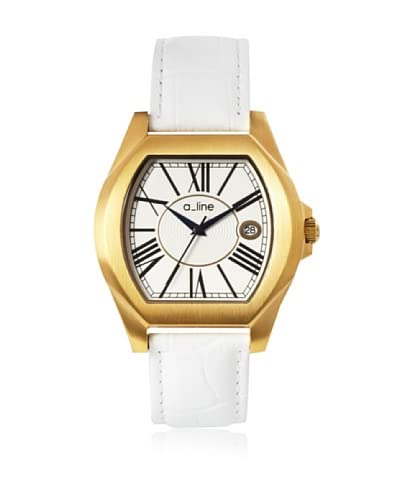 a_line Women's 80008-YG-02-WH Adore White/Goldtone Leather Watch