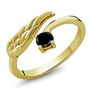 0.27 Ct Round Black Diamond 18K Yellow Gold Plated Silver Wing Ring