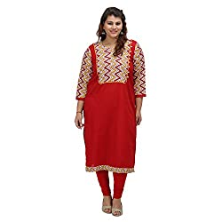 Damyantii Women's Plus Size Red Straight XL Kurta