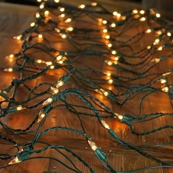 Net Lights, Green Wire, 2X12 Ft., 150 Bulbs, Plug In, Clear