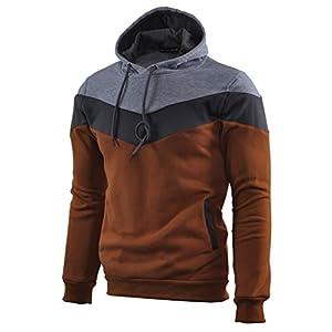 Mooncolour Mens Novelty Color Block Hoodies Cozy Sport Autumn Outwear, Brown, US Medium