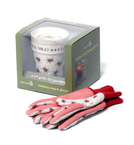 Gardener's Ladybug Anti-Bug Mug and Gardening Gloves Gift Set