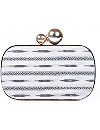 Geaometric Monochrome Print Women Metal Clutch