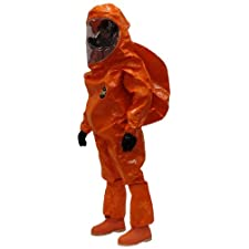 Kappler Zytron 500 Chemical Protection Expanded Back HazMat Rear Entry Coverall with Hood and Sock Boots, Disposable, Orange, Large – X-Large, (Pack of 1)