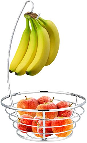 Home Basics Fruit Tree Basket Bowl with Banana Hanger, Chrome Finish (Fruit Bowl With Banana Hanger compare prices)