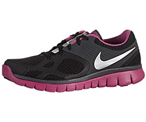 Nike Women's Flex 2012 Run - Black / Metallic Silver-Fire Berry-Anthracite, 10 B US