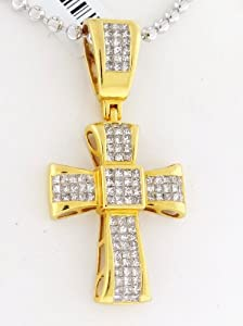 14k Yellow Gold / Designer Cross Charm Pendant / 3.00cttw Diamonds / 9 Grams / SDP-364Y