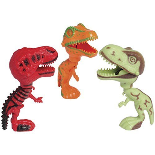 Lot Of 6 Assorted Big Head Dinosaur Moving Mouth Action Figures by US Toy
