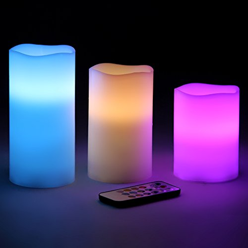Songmics Battery-powered Flameless LED Candles 12 Changing Colors Weatherproof Lights with Remote Control & Timer UFLC75C