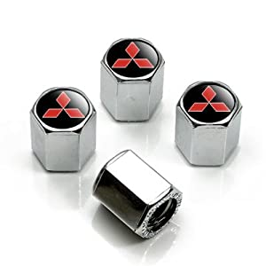 41oNYmKlP%2BL. SL500 AA300  Mitsubishi Red Logo Chrome Tire Stem Valve Caps