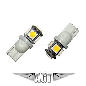 LED replacements for Malibu Landscape light 5 LED SMD SMT 194 T10 Wedge Base Warm White 12V DC/AC 1407WW (Pack of 4) by AGT