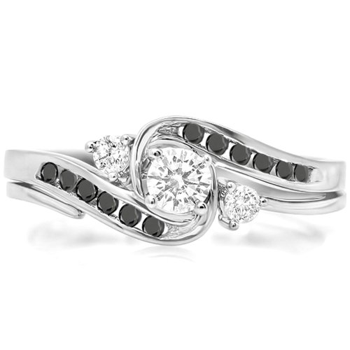 0.50 Carat (Ctw) 14K White Gold Round Black & White Diamond Swirl Bridal Engagement Ring Set (Size 6)