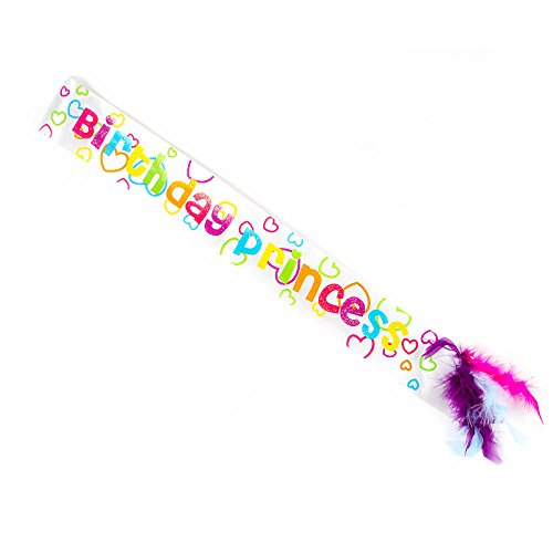 Claire's Accessories Girls Kids Rainbow Hearts Birthday Princess Sash with Feathers