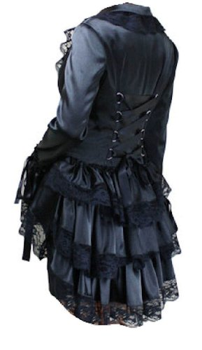 Black - Satin Corset Bustle Lace Ruffle Jacket Gothic Steam-Punk Victorian Vintage Size 8