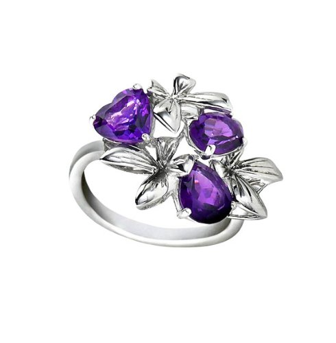 The Seventeen Magazine Jewelry Collection - Enchanted- A Beautiful Sterling Silver Butterfly Cluster Ring With Amethyst