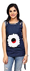 Carrel Brand Imported Denim Fabric Stylish sleevless Top with Flower Printed Dark Blue Colour Women L Size.