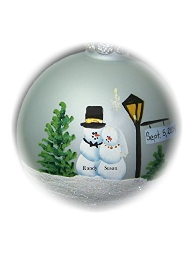 First Christmas Wedding Lane 2016 hand painted glass ornament, Christmas, engagement, wedding gift
