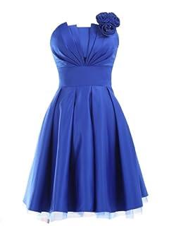 Landybridal A-line Knee Length Satin Bridesmaid Dress E22464 L Royal Blue