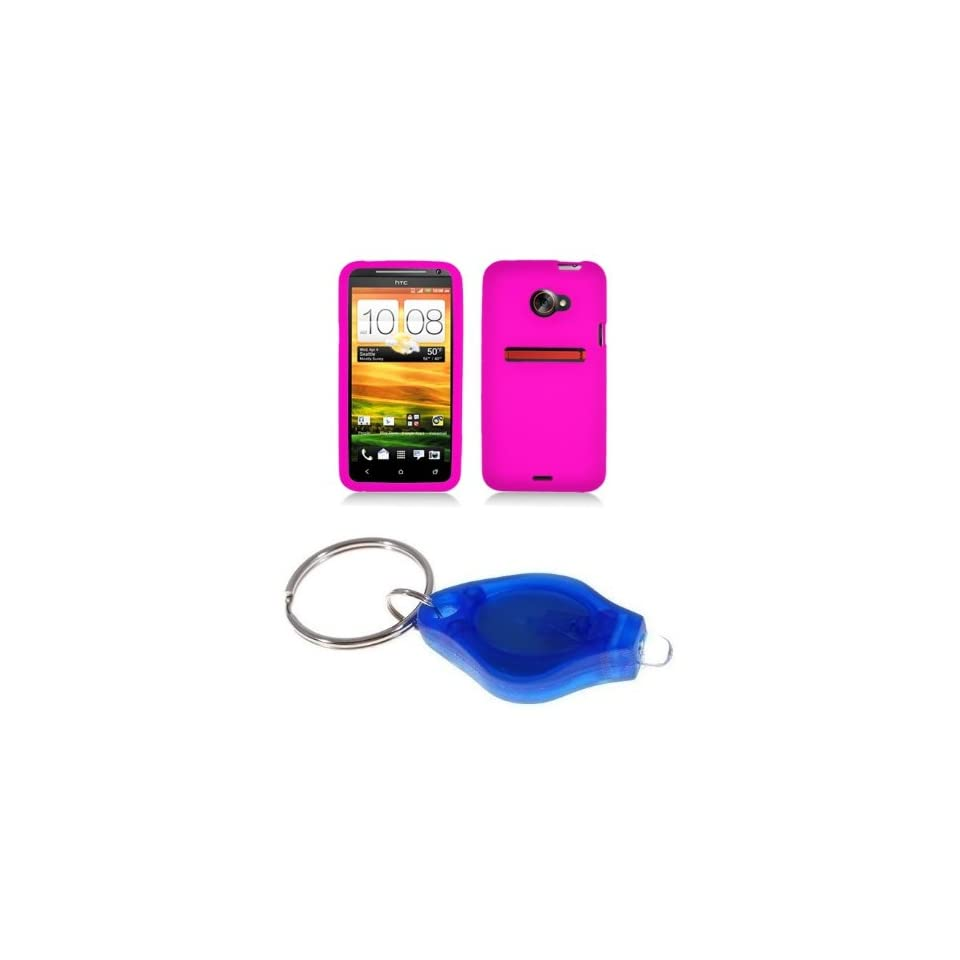 Premium Hot Pink Silicone Skin Case Cover + Atom LED Keychain Light for HTC EVO 4G LTE (Sprint)
