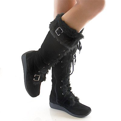 Black Fluffy Winter Boots | Planetary Skin Institute