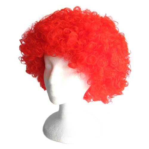 SeasonsTrading Economy Red Afro Wig ~ Halloween Costume Party Wig (STC13036)