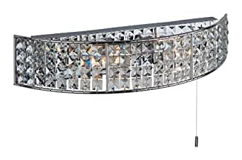Firstlight Pearl G9 IP44 2 x 240 V 40 Watt Switched Chrome Wall with Crystal